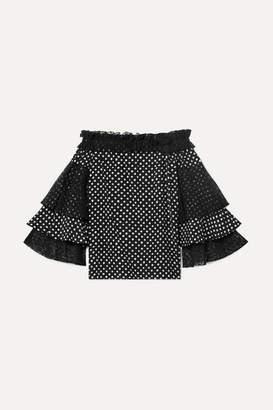 Michael Kors Off-the-shoulder Lace-trimmed Polka-dot Silk Crepe De Chine Top - Black