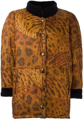Saint Laurent Pre-Owned animal print padded coat