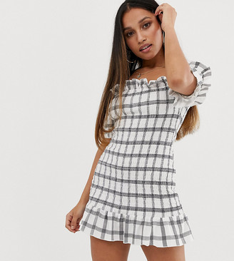 ASOS DESIGN Petite off shoulder check shirred sundress