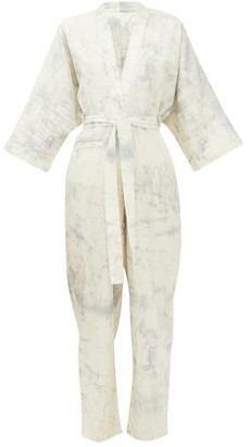 Mes Demoiselles Cirrus Tie-dye Cotton Jumpsuit - Blue White
