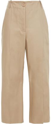 MM6 MAISON MARGIELA Cropped Satin-trimmed Cotton-twill Wide-leg Pants