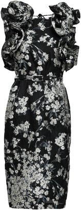 Co Lace-up Belted Ruffled Brocade Dress