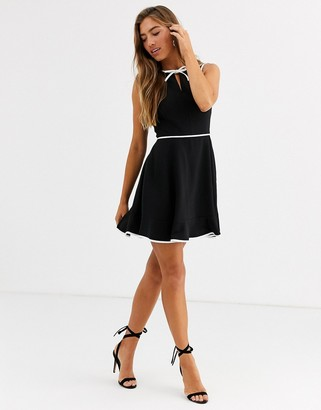 Ted Baker Dralie skater dress with bow binding-Black