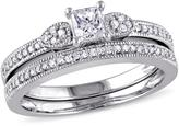 10K White Gold 0.41ctw Princess-Cut and Round White Diamond Bridal Set