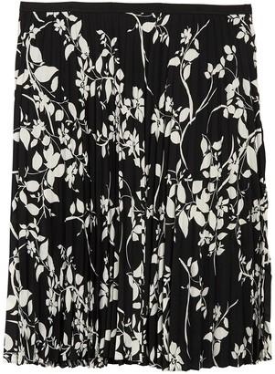 Halogen Printed Pleated Midi Skirt (Plus Size)