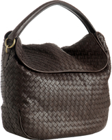 Bottega Veneta black woven leather fold-over shoulder bag