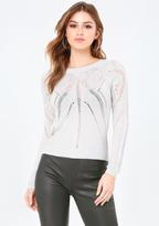 Bebe Pointelle Hi-Lo Sweater