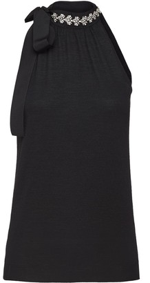 Prada Embellished Neck Tie Top