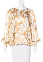 Thomas Wylde Silk Abstract Print Blouse