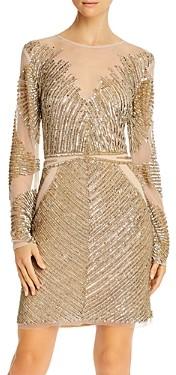 Aidan Mattox Embellished Long-Sleeve Dress - 100% Exclusive