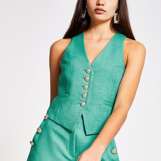 River Island Green button front waistcoat