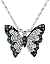Lord & Taylor Green Diamond, Diamond And Sterling Silver Butterfly Pendant Necklace