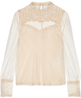 RED Valentino Embroidered Lace-trimmed Point D'esprit Tulle Top - Ivory