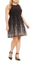 Vince Camuto Plus Sequined Fit and Flare Dress