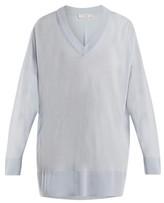 The Row Sabrinah Oversized V-neck Wool Sweater - Womens - Light Blue