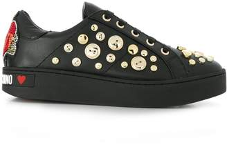 Love Moschino button embellished sneakers