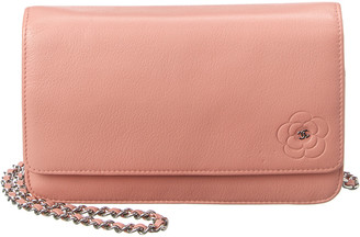 Chanel Pink Calfskin Leather Wallet On Chain