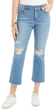 Style&Co. Style & Co Ripped Authentic Cropped Kick-Flare Jeans, Created for Macy's