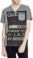GUESS Stencil-Print Short-Sleeve V-Neck Graphic Tee