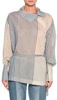 Stella McCartney Caterina Striped Asymmetric-Button Blouse, White/Blue