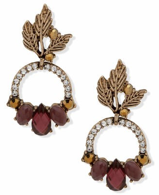 lonna & lilly Post Drop Earrings Gold And Burgundy
