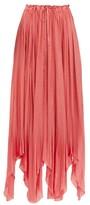 Ann Demeulemeester Ariana Pleated Satin Maxi Skirt - Womens - Pink