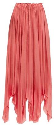 Ann Demeulemeester Ariana Pleated Satin Maxi Skirt - Pink