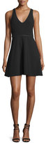 Halston Sleeveless Embellished Fit-&-Flare Dress, Black