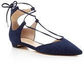 Ivanka Trump Tavyn Suede Lace Up Pointed Toe Flats