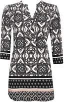 Wallis Grey Mosaic 3/4 Sleeve Shirt