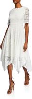 N. Shani Jewel-Neck Elbow-Sleeve Lace Dress w/ Handkerchief-Hem