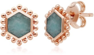 Gemondo Amazonite Slice Stud Earrings in Rose Gold Plated Silver