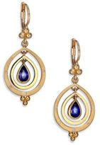 Temple St. Clair Celestial Sapphire, Diamond & 18K Yellow Gold Double-Ring Pear Spin Drop Earrings