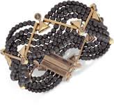 Givenchy Gold-Tone Black Imitation Pearl Flex Bracelet