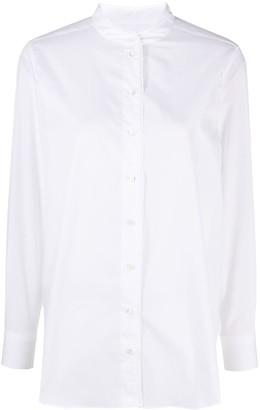 Closed Collarless Button-Up Shirt