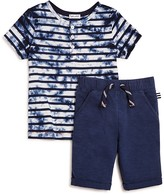 Splendid Boys' Tie Dye Henley Tee & Solid Knit Shorts Set - Sizes 2-7