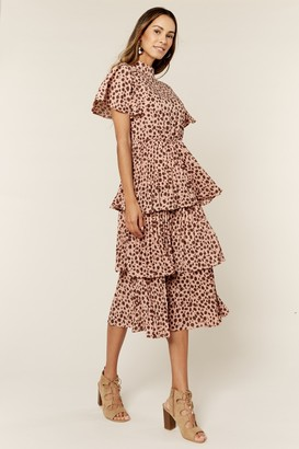 Gini London Frill Details Ruffle Turtle Neck Midi Dress in Animal Print