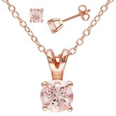 Allura Women's 1 4/5 CT. T.W. Morganite Set Necklace in Pink Rhodium Plated Sterling Silver