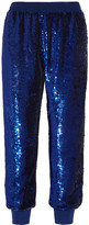 Ashish Sequined Silk-georgette Track Pants - Storm blue