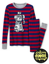 Classic Boys Glow-in-Dark Knit Snug Fit PJ Set-Deepest Cobalt/Rich Red Stripe