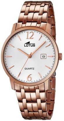 Lotus Men's Quartz Watch with White Dial Analogue Display and Stainless Steel Rose Gold Plated Bracelet 18178/1