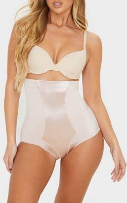 PrettyLittleThing Nude High Waist Satin Panel Shapewear Contol Brief
