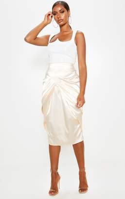 PrettyLittleThing Khaki Satin Front Drape Detail Midi Skirt