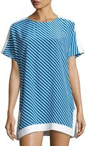 Tory Burch Colorblocked Striped Tunic, Regatta Stripe