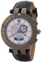 Versace Men&s V-Race GMT Round Leather Strap Watch