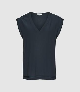 Reiss Lexi - Woven Front V-neck T-shirt in Navy