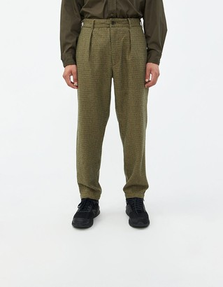 Engineered Garments Men's Carlyle Pant in Tan/Green, Size Large | Wool/Polyester/Cotton