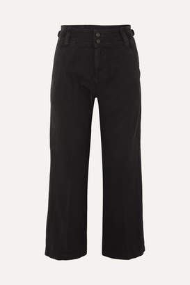 Current/Elliott The Relaxed Army Cotton And Linen-blend Wide-leg Pants - Black