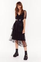 Nasty Gal Womens Mesh is Mine Puff Sleeve Midi Dress - black - 6
