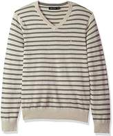 Nautica Men's Long Sleeve Striped Classic V-Neck Sweater